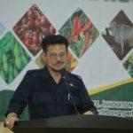 Foto : Menteri Pertanian Syahrul Yasin Limpo saat Memberikan Sambutan dalam Rapat Kerja Perihal Penguatan Manajemen Badan Litbang Pertanian serta Sosialisasi Program-program Strategis.