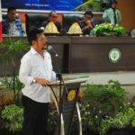 Foto : Mentan Syahrul Yasin Limpo, saat memberikan kuliah umum di Polbangtan di Kabupaten Gowa.