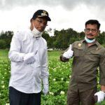 Foto : Menteri Pertanian, Syahrul Yasin Limpo (Kanan) Bersama dengan Bupati Humbang Hasundutan, Dosmar Banjarnahor (kiri) Saat Melakukan Penanaman Jagung di Desa Habeahan, Humbang Hasundutan.